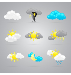 many different color weather icons vector image vector image