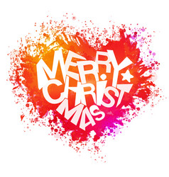 Merry christmas bright colors watercolor heart vector