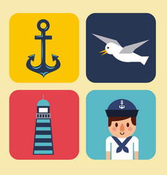 nautical design elements anchor wheel boat fish vector image