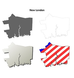 New london map icon set vector