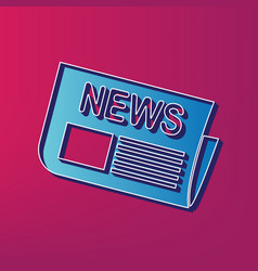 Newspaper sign blue 3d printed icon on vector