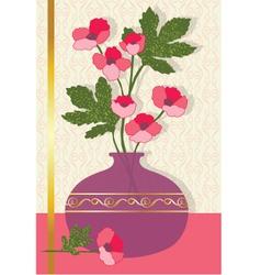 Pink flowers in vase vector