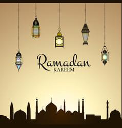 ramadan with lanterns and vector image