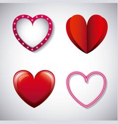 romantic love hearts different design vector image