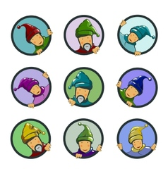 Set of characters gnomes in circles vector image