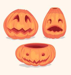 spooky halloween pumpkins objects vector image