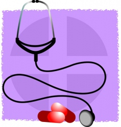 stethoscope and capsule vector image vector image