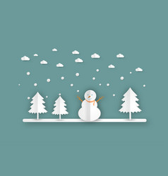winter landscape with christmas trees snowmen vector image vector image