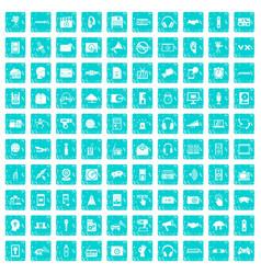 100 audio icons set grunge blue vector