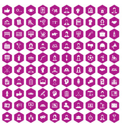 100 team work icons hexagon violet vector image vector image