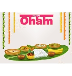 Happy onam food for hindu festival in kerala vector