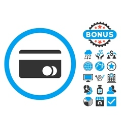 Banking card flat icon with bonus vector