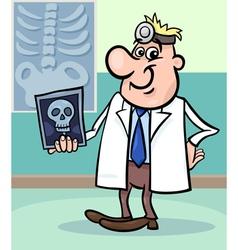 cartoon doctor with xray vector image