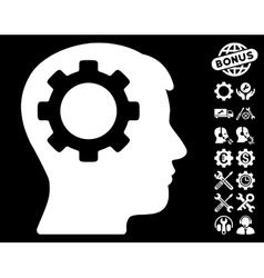 Intellect gear icon with tools bonus vector