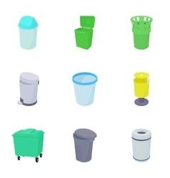 Trash can icons set cartoon style vector