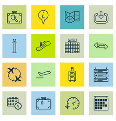Set of 16 traveling icons includes info pointer vector