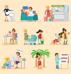 colorful woman lifestyle characters set vector image