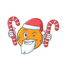 Santa orange fruit cartoon character with candy vector
