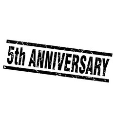 Square grunge black 5th anniversary stamp vector