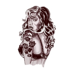 Vibrant rockabilly woman with tattoo on arms vector