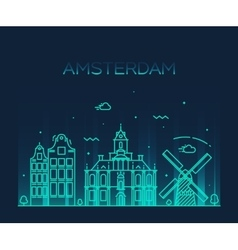 Amsterdam city skyline trendy line art vector