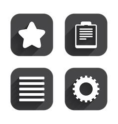 Star and menu list signs checklist gear vector