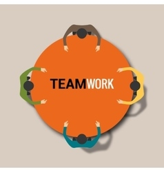 Group of business people working in office table vector