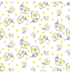 Brush stroke seamless yellow flowers pattern vector