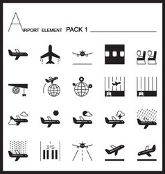 Airport element line icon set 1mono graph pack vector