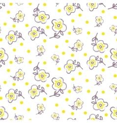 Brush stroke seamless yellow flowers pattern vector