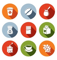 Coffee flat icon set vector