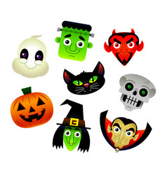 Collection of cartoons of various halloween vector