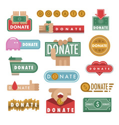 donate buttons help icon vector image