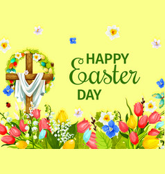 Easter day greeting card with cross egg flower vector