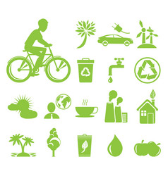 ecology saving and anti pollution green symbols vector image