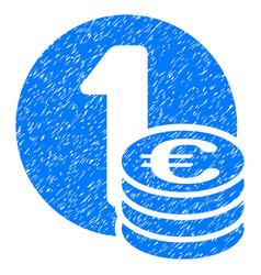 Euro coin column grunge icon vector