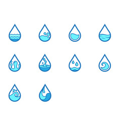 flat color water icon set vector image