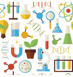 Flat Seamless Pattern Science and Research Objects vector image vector image