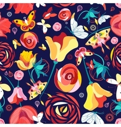 Flower pattern and butterflies vector image