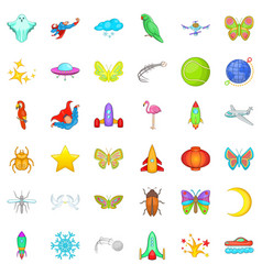 fly icons set cartoon style vector image vector image
