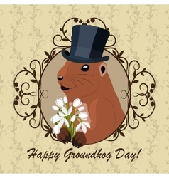 Groundhog day greeting vector