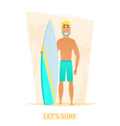 handsome surfer with surf board on the beach vector image