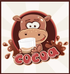 Hippo with cacao vector image