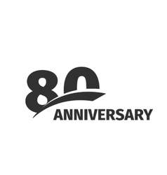 Isolated abstract black 80th anniversary logo on vector image