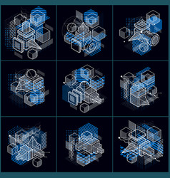 isometric linear abstract backgrounds lined vector image