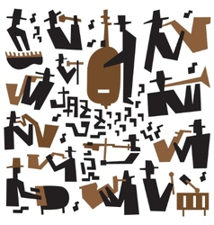 jazz musicians - icons set vector image vector image