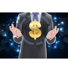 Man with icons symbol of dollar gold vector