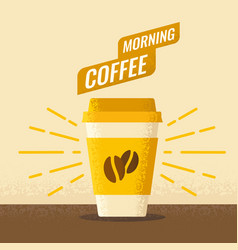 Morning coffe with paper vector