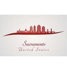 Sacramento v2 skyline in red vector