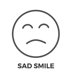 sad smile thin line icon vector image